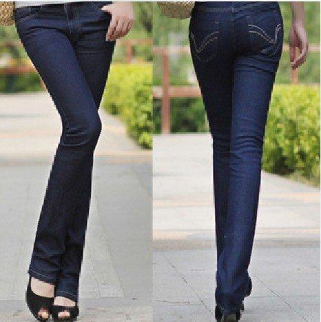 Темно синие прямые джинсы женские